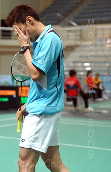 Lee Chong Wei looking disappointed