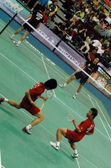 Korean Badminton Doubles Players LEE Yong Dae and JUNG Jae Sung
